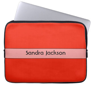 Personalized bright orange red color laptop sleeves
