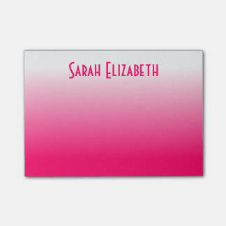 Personalized Bright Pink White Gradient Post-it Notes