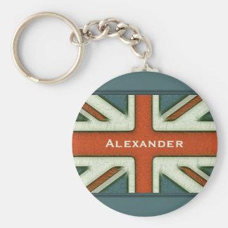 Personalized British Flag Basic Round Button Key Ring