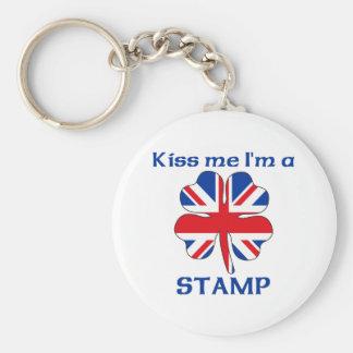 Personalized British Kiss Me I m Stamp Key Chain