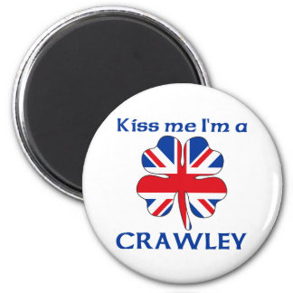 Personalized British Kiss Me I'm Crawley Refrigerator Magnet