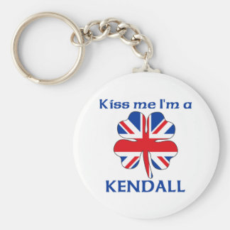 Personalized British Kiss Me I'm Kendall Basic Round Button Key Ring