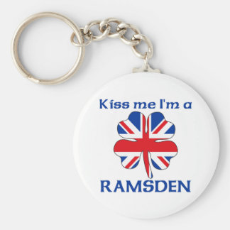 Personalized British Kiss Me I'm Ramsden Basic Round Button Key Ring