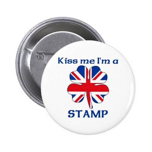 Personalized British Kiss Me I'm Stamp Pinback Button