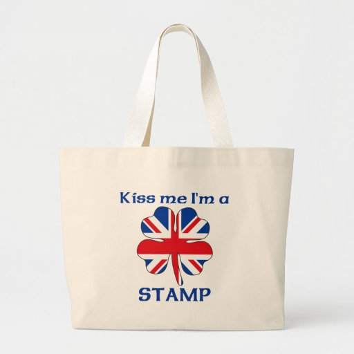 Personalized British Kiss Me I'm Stamp Tote Bags