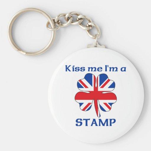 Personalized British Kiss Me I'm Stamp Key Chain