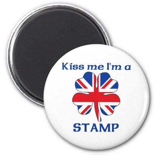 Personalized British Kiss Me I'm Stamp Refrigerator Magnet