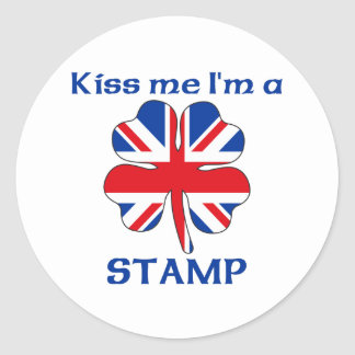 Personalized British Kiss Me I'm Stamp Round Stickers
