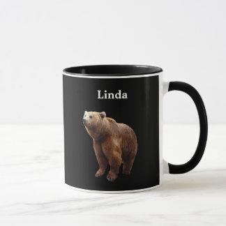 Personalized Brown Bear On Black Mug