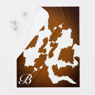 Personalized Brown Cow Print Baby Blanket