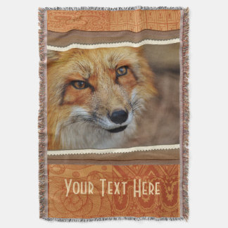 Personalized Brown Fox Photography Print Throw Blanket