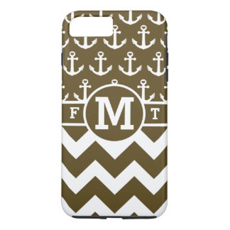 Personalized Brown Nautical Anchors Chevron Print iPhone 7 Plus Case