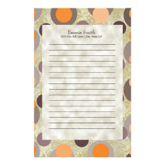 Personalized Brown Orange Gray Retro Abstract Dots Stationery