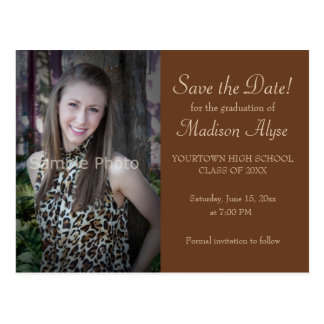 Personalized Brown Photo Graduation Save the Date Postcard