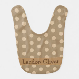 Personalized Brown Polka Dot Bib