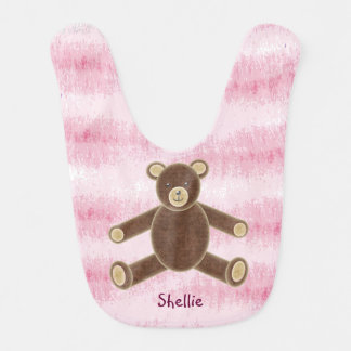 Personalized Brown Teddy Bear Baby Bib - pink