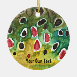 Personalized Brown Trout, Fly Fishing Ceramic Ornament