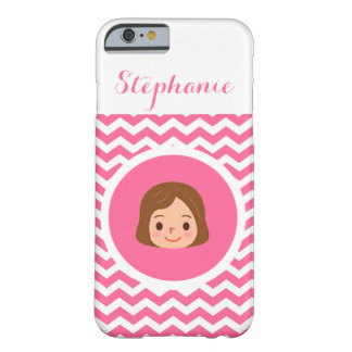 Personalized Brunette Girl in Pink Barely There iPhone 6 Case