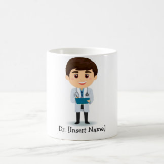 Personalized Brunette Male Doctor Coffee Mug