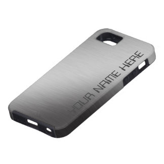 Personalized Brushed Metal Faux Tough iPhone 5 Case