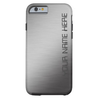 Personalized Brushed Metal Faux Tough iPhone 6 Case