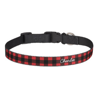 Personalized Buffalo Check Red Plaid Dog Collar