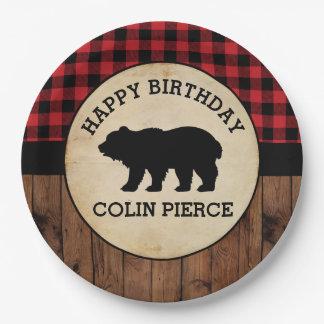 Personalized Buffalo Plaid Bear Lumberjack Party Paper Plate