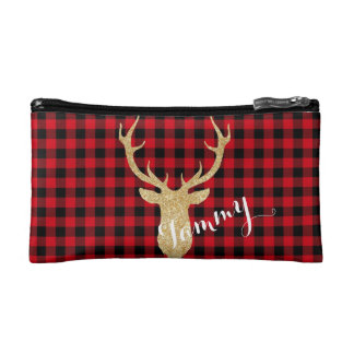 Personalized Buffalo Plaid/Deer Make Up Bag
