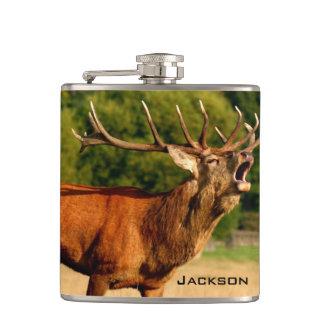 Personalized Bugling Bull Elk Hip Flask