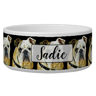 Personalized Bulldog black Dog Bowl
