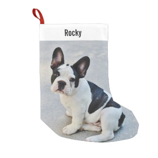 Personalized Bulldog Photo and Bulldog Name Small Christmas Stocking