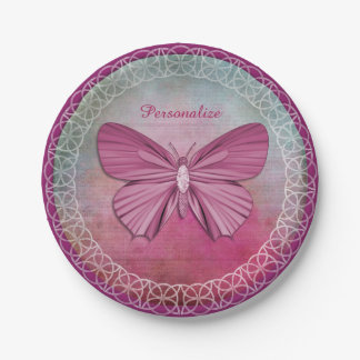 Personalized Burgundy Butterfly Party Paper Plates