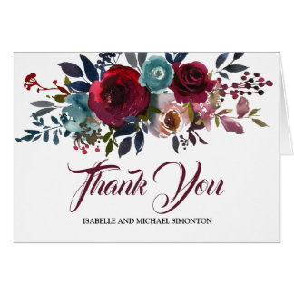 Personalized Burgundy Floral Thank You Card