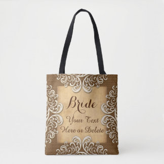 Personalized Burlap and Lace Wedding Gifts Tote Bag