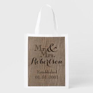 Personalized Burlap-Look Rustic Wedding Keepsake