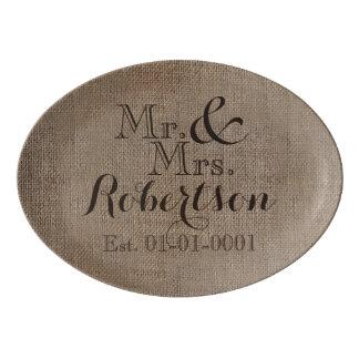 Personalized Burlap-Look Rustic Wedding Keepsake Porcelain Serving Platter