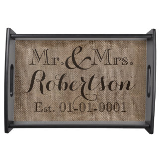 Personalized Burlap-Look Rustic Wedding Keepsake Serving Tray