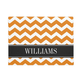 Personalized Burnt Orange and Black Chevron Doormat