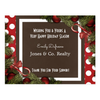 Personalized Business Holiday Greetings Festive Postcard