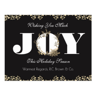 Personalized Business Holiday Greetings Joy Postcard