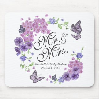 Personalized Butterflies Floral Wedding | Mousepad