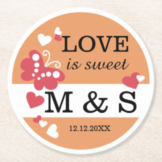 Personalized Butterfly Heart Monogram Wedding Round Paper Coaster