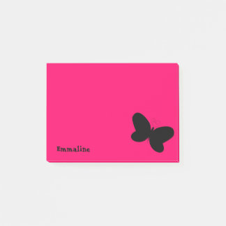 Personalized Butterfly on Dark Pink Post It Note