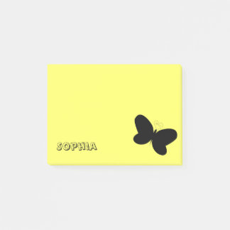 Personalized Butterfly on Yellow Post It Note