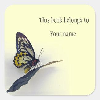 Personalized Butterfly Sticker Bookplate Square Sticker