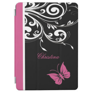 Personalized Butterfly Swirls Cranberry Pink iPad Air Cover