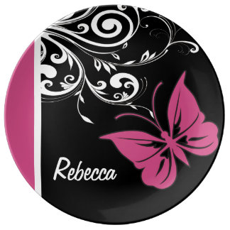 Personalized Butterfly Swirls Cranberry Pink Plate