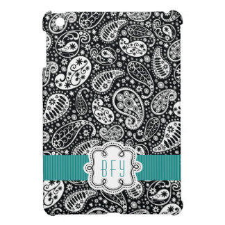 Personalized BW Paisley Pattern with Teal iPad Mini Case