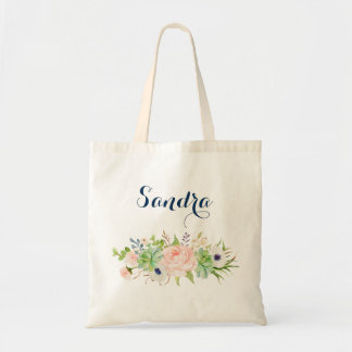 Personalized Cactus Succulent Floral Tote Bag