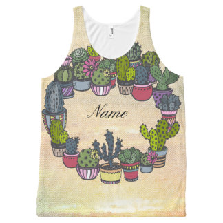 Personalized Cactus Wreath All-Over Print Singlet